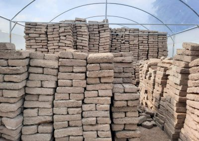 Bricks stored in the greenhouse