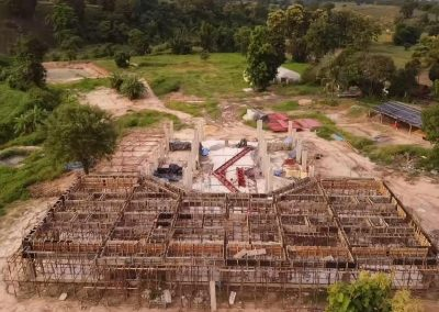 Arial shot of construction starting walls